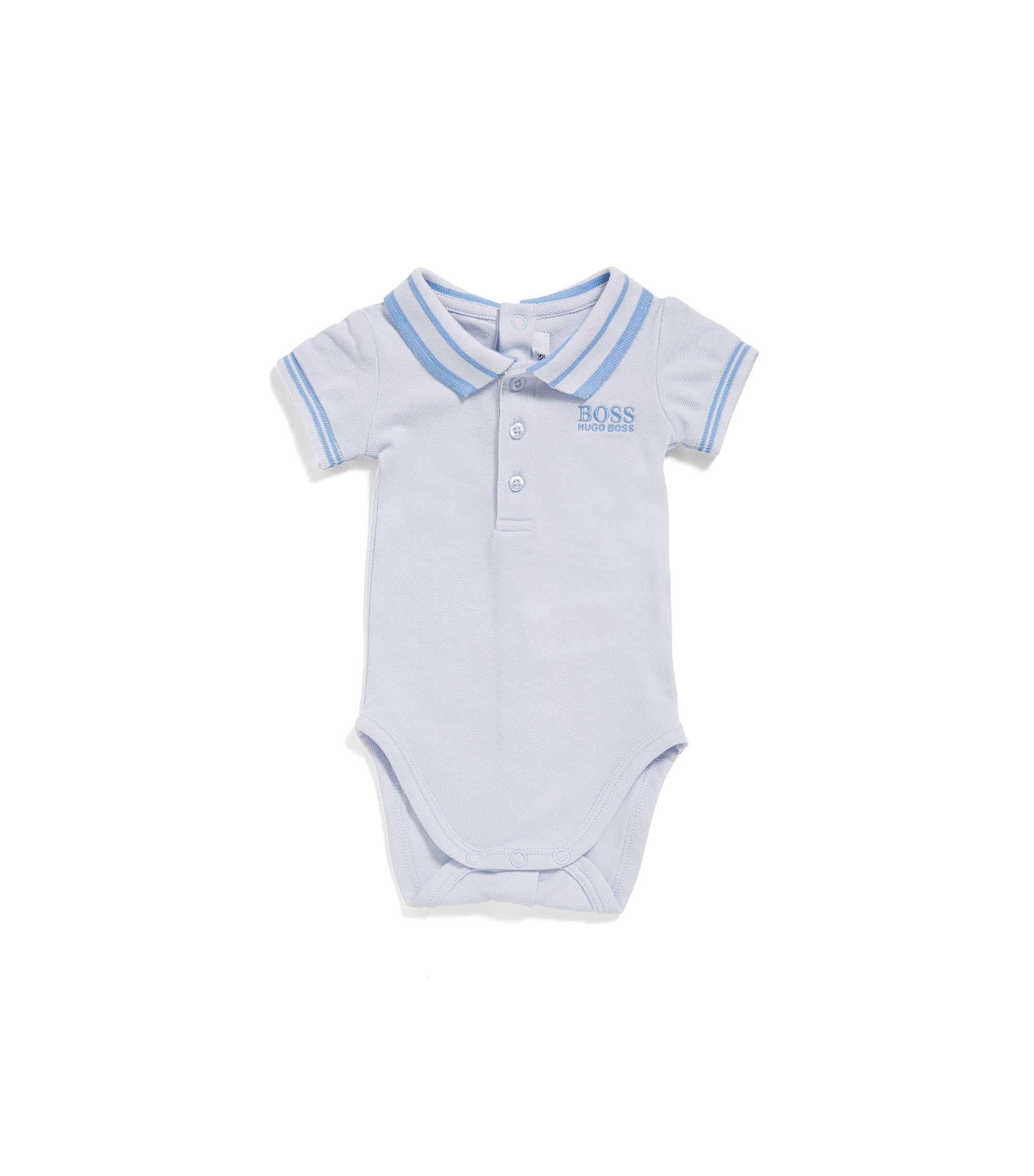 Newborns' bodysuit in stretch cotton with a polo collar: 'J97112', Light Blue