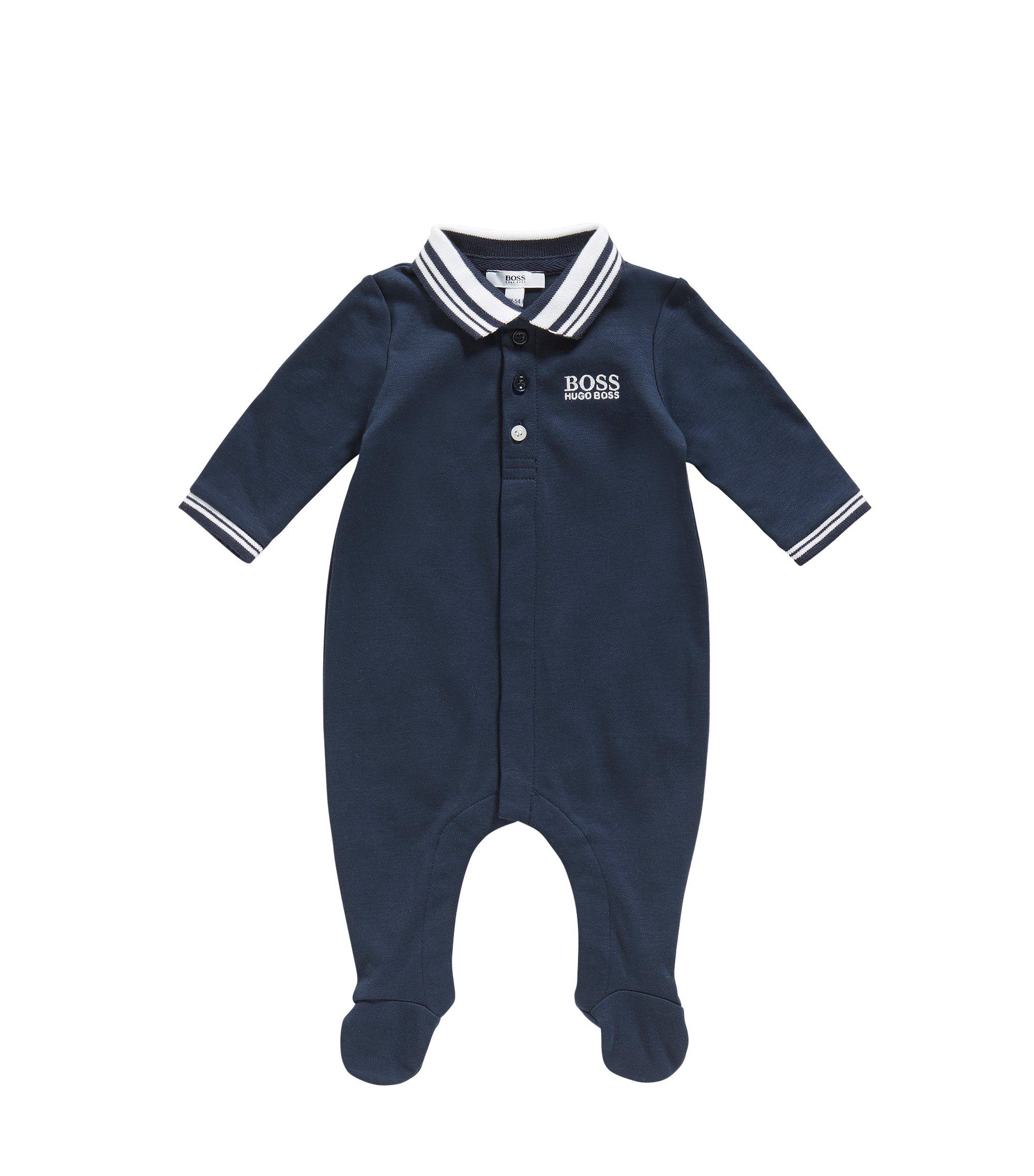 Newborn jumpsuit in cotton with a polo collar: 'J97113', Dark Blue