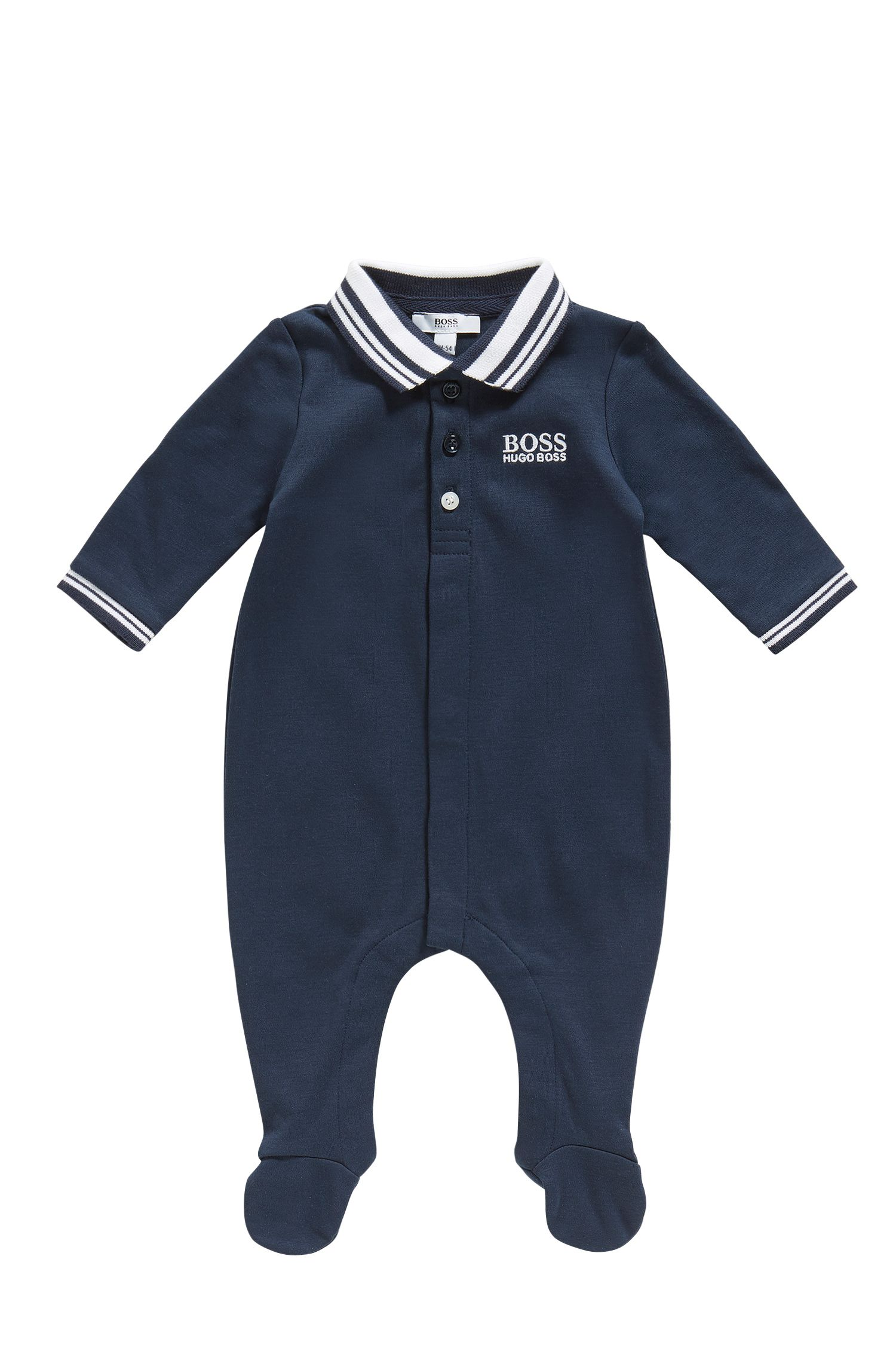 Newborn jumpsuit in cotton with a polo collar: 'J97113'