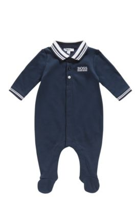 Newborn jumpsuit in cotton with a polo collar: 'J97113', Dark Blue