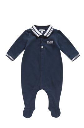 Combinaison pour bébé en coton, à col polo: «J97113», Bleu foncé
