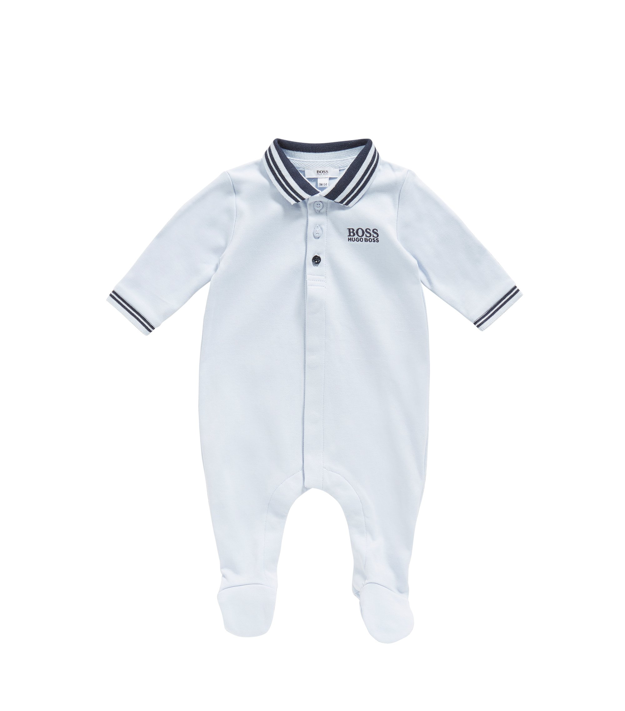 Newborn jumpsuit in cotton with a polo collar: 'J97113', Light Blue