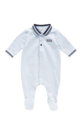 Tutina da neonato in cotone con colletto polo: 'J97113', Celeste