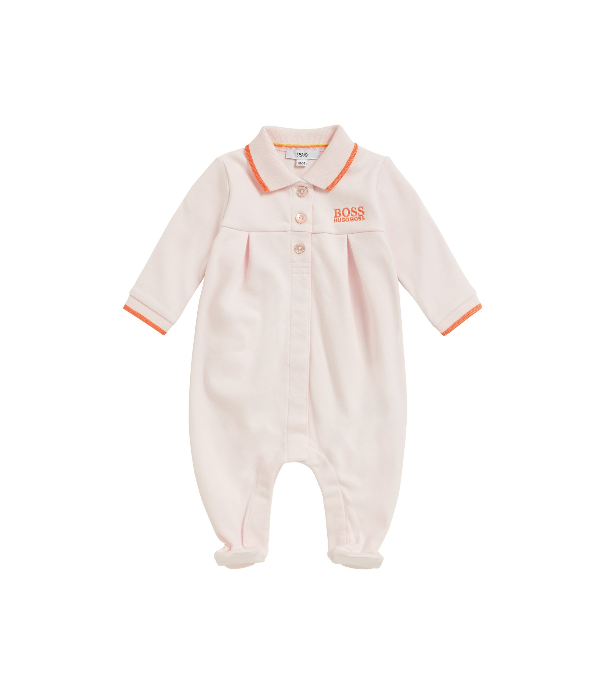 Baby girl sleepsuit in interlock cotton, light pink