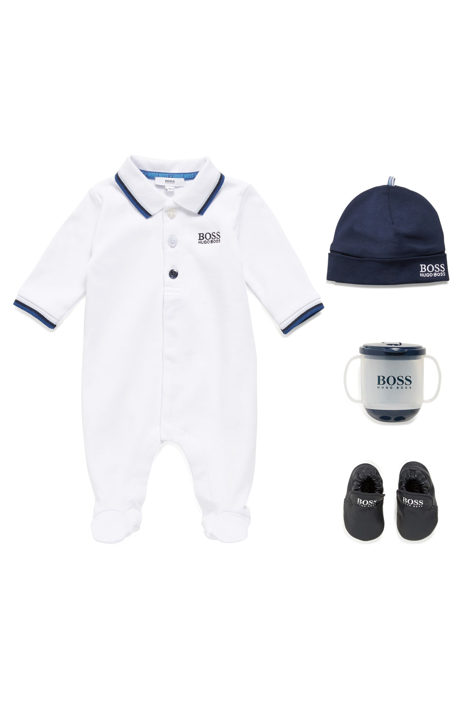 Baby sleepsuit in interlock cotton, White