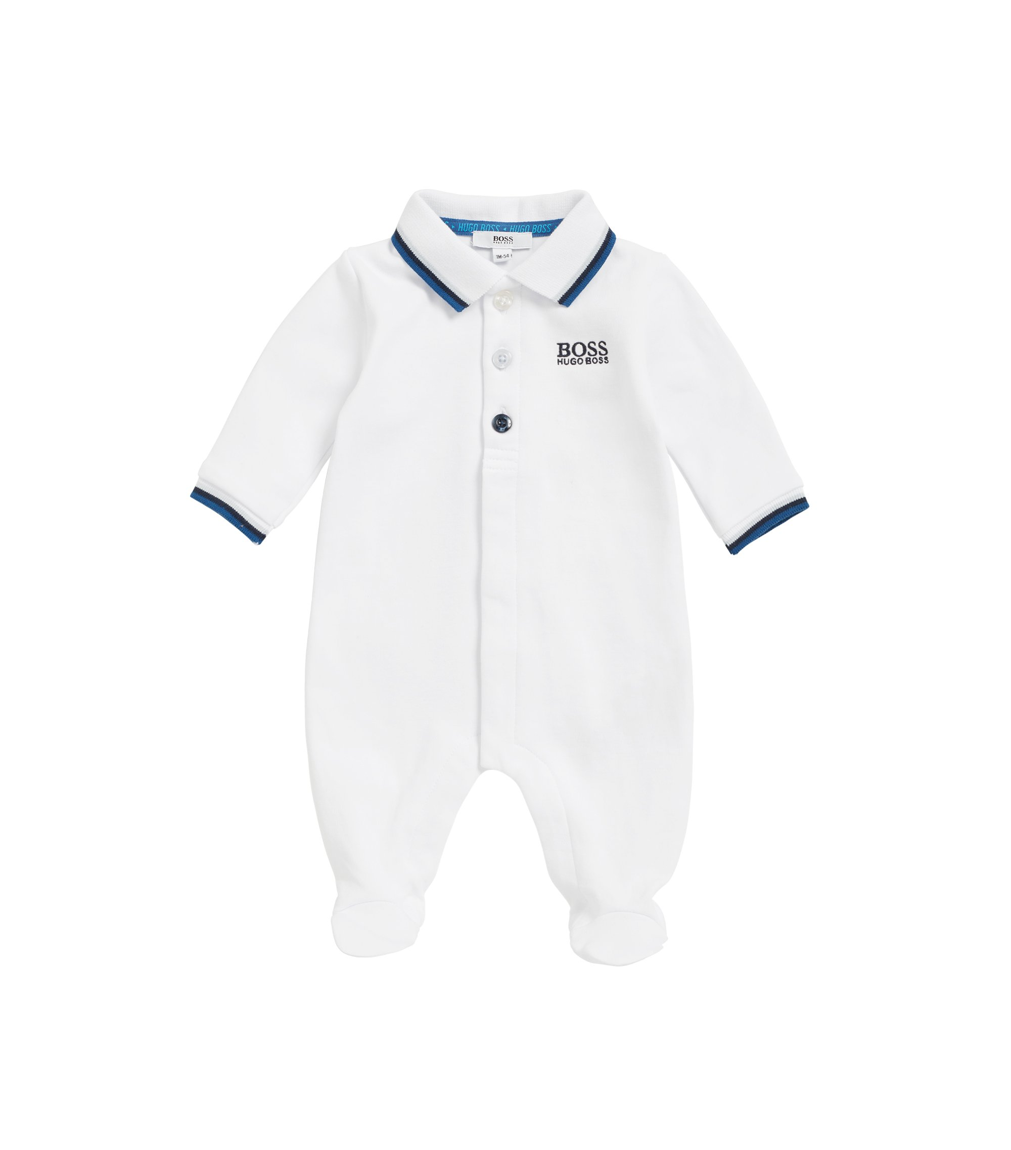 Baby sleepsuit in interlock cotton, White