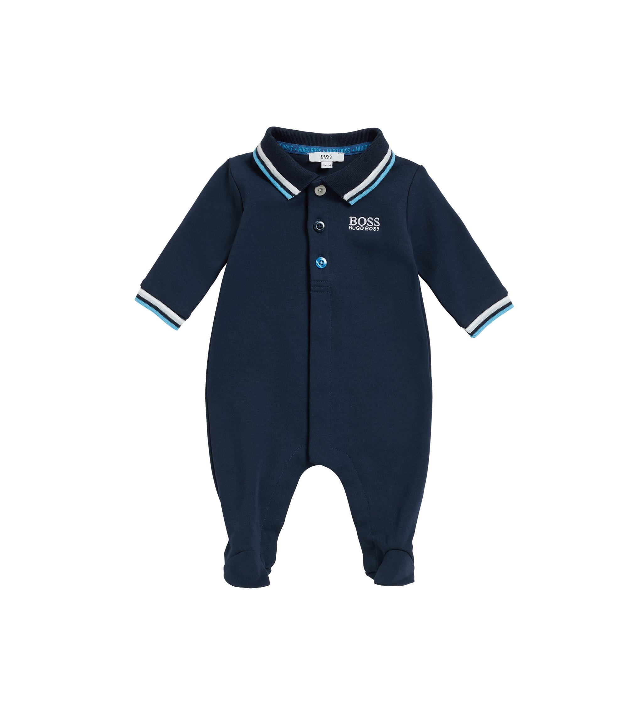 Baby sleepsuit in interlock cotton, Dark Blue