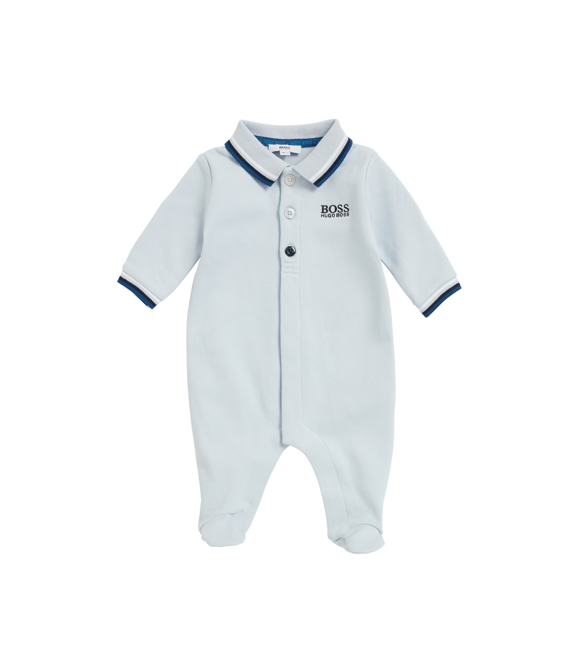 Baby sleepsuit in interlock cotton, Light Blue