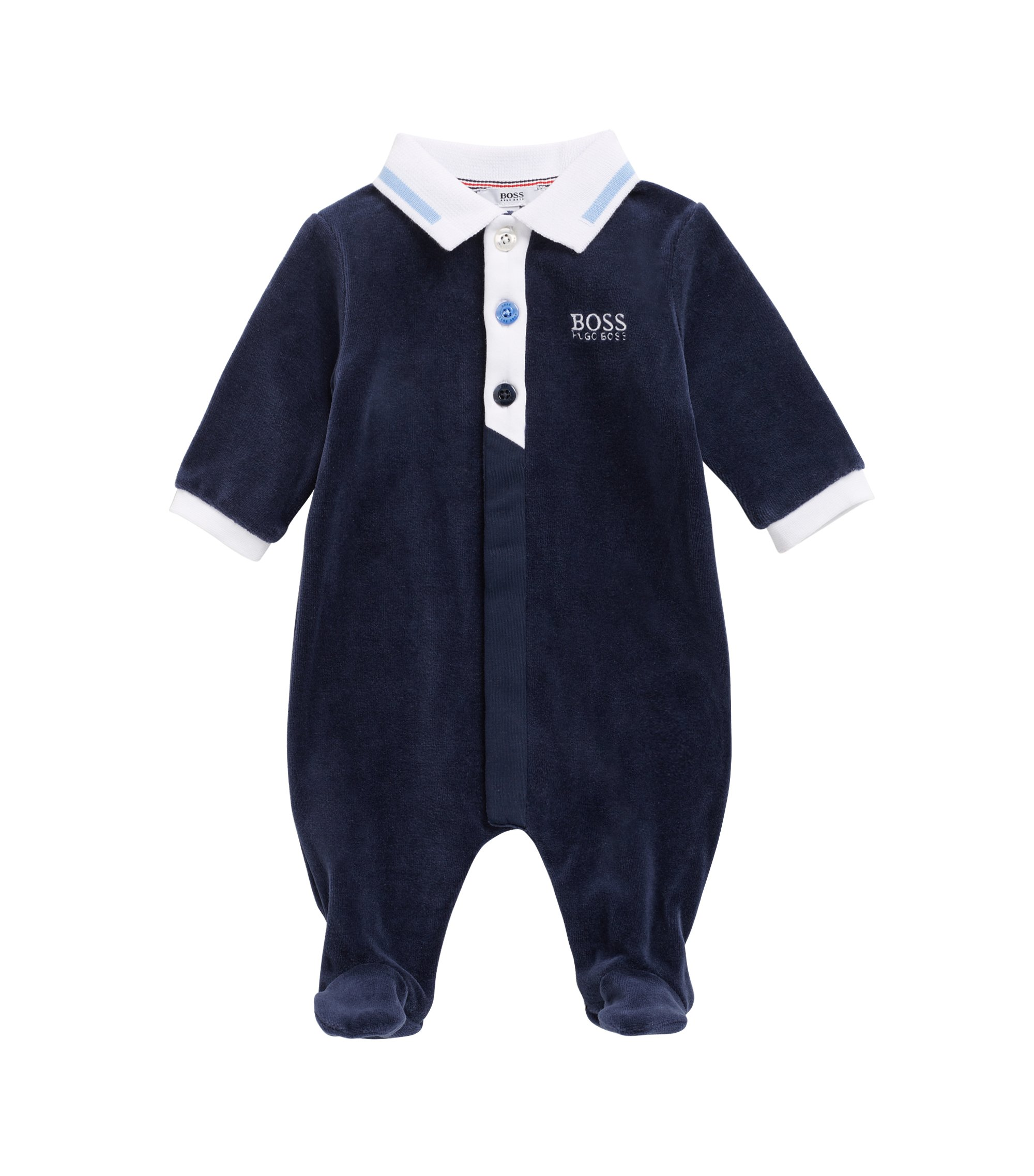 Baby sleepsuit in cotton-blend velvet terry, Dark Blue
