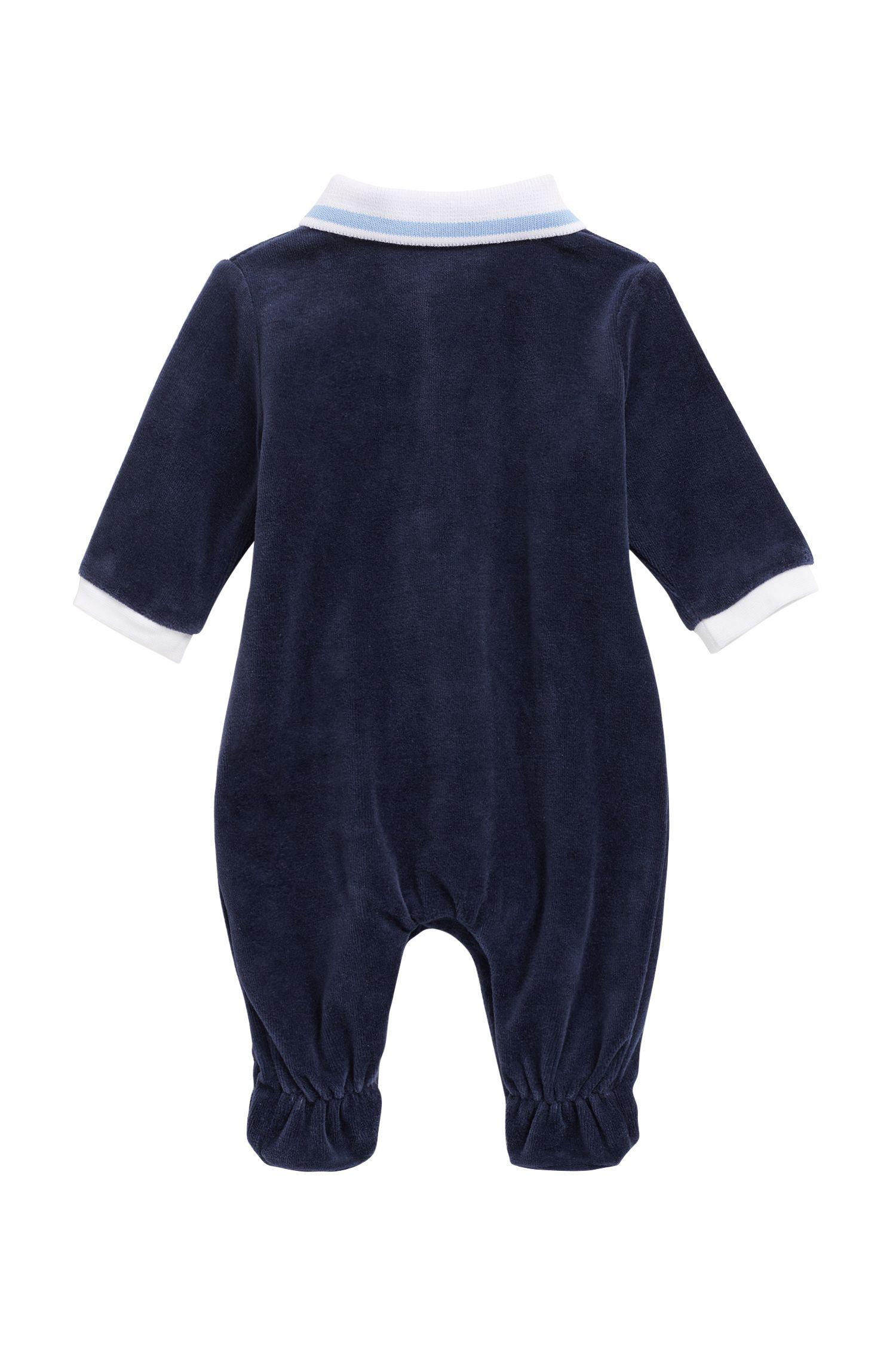 Baby-Pyjama aus Baumwoll-Mix mit Samt-Finish, Dunkelblau