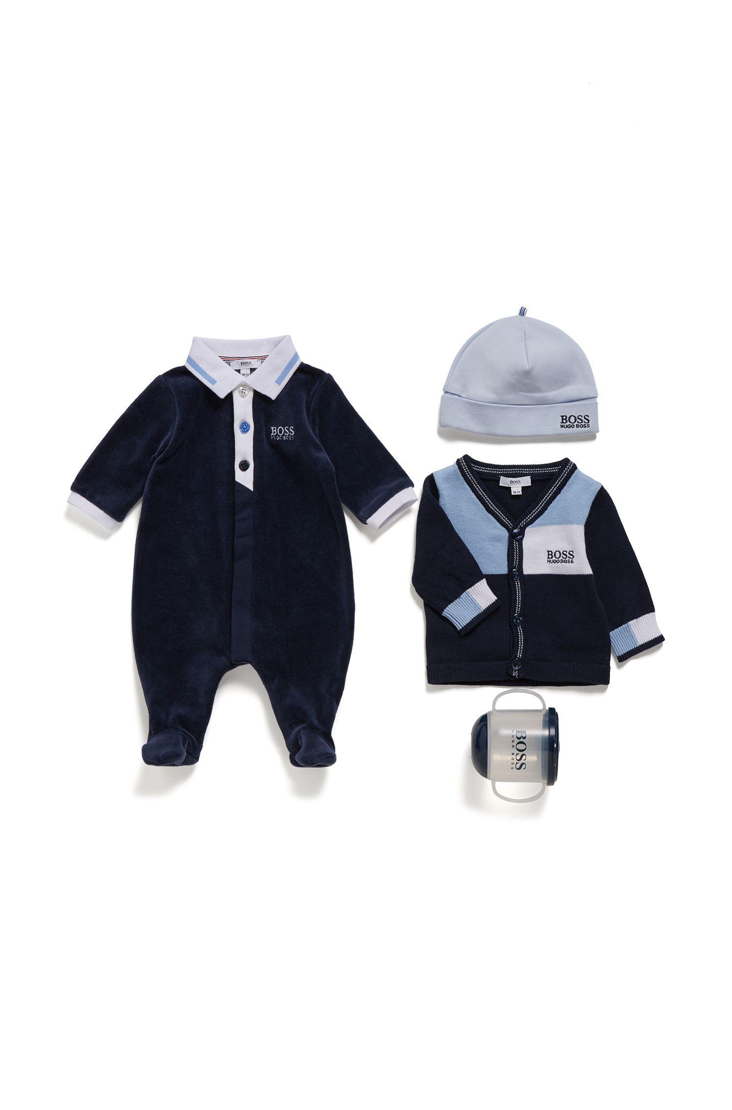 Baby sleepsuit in cotton-blend velvet terry, Dark Blue