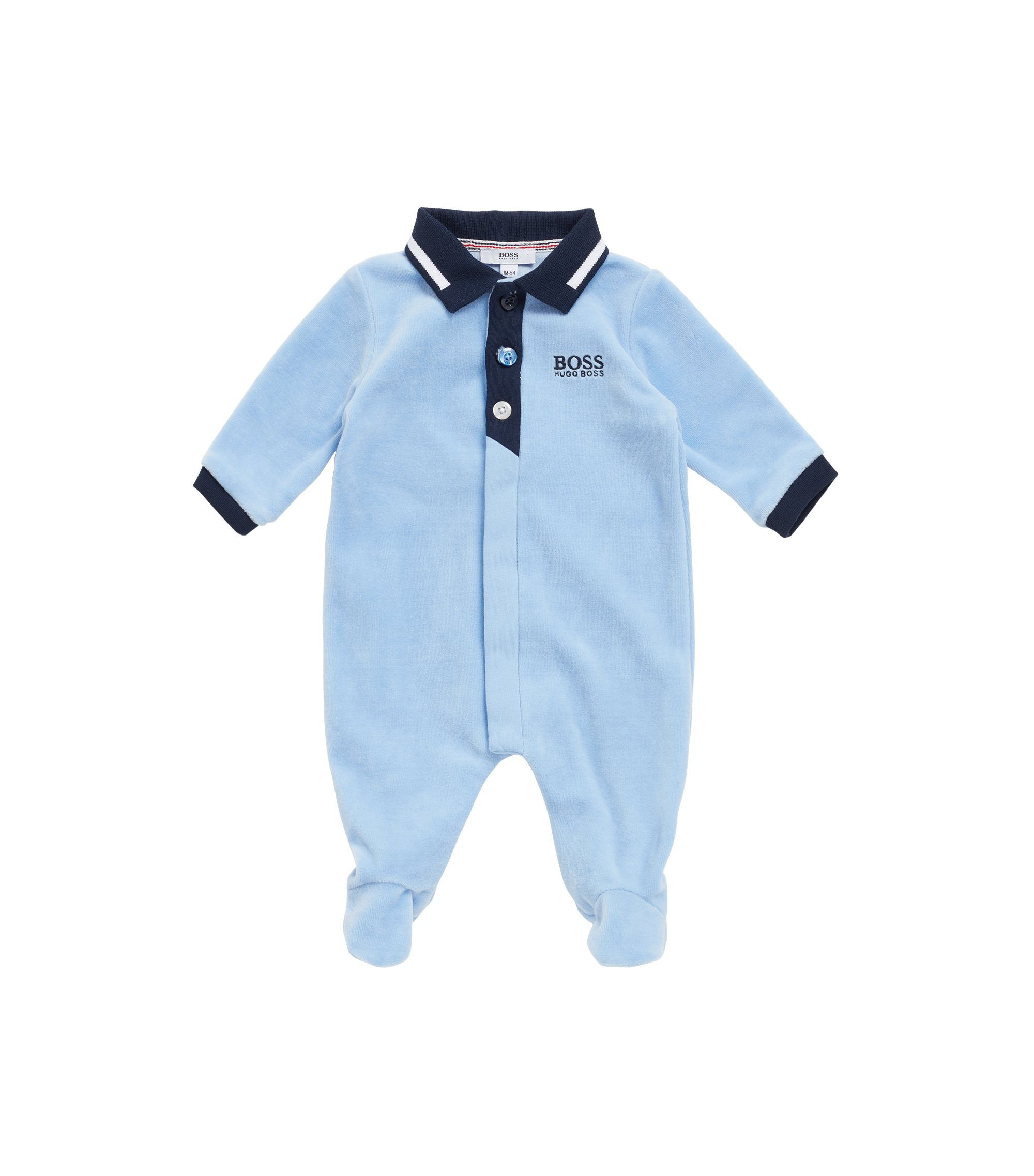 Baby sleepsuit in cotton-blend velvet terry, Light Blue