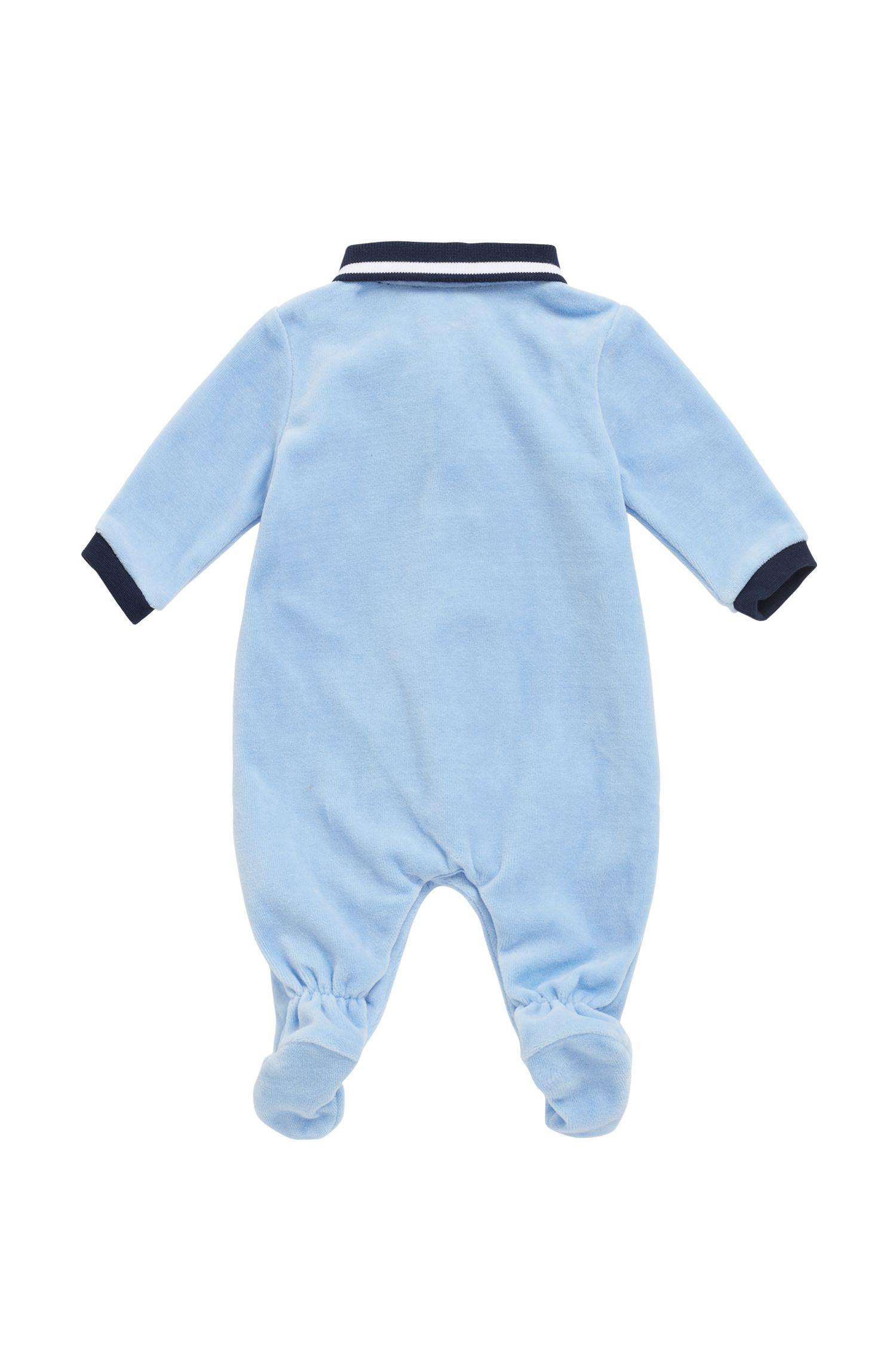 Baby sleepsuit in cotton-blend velvet terry, Light Blue