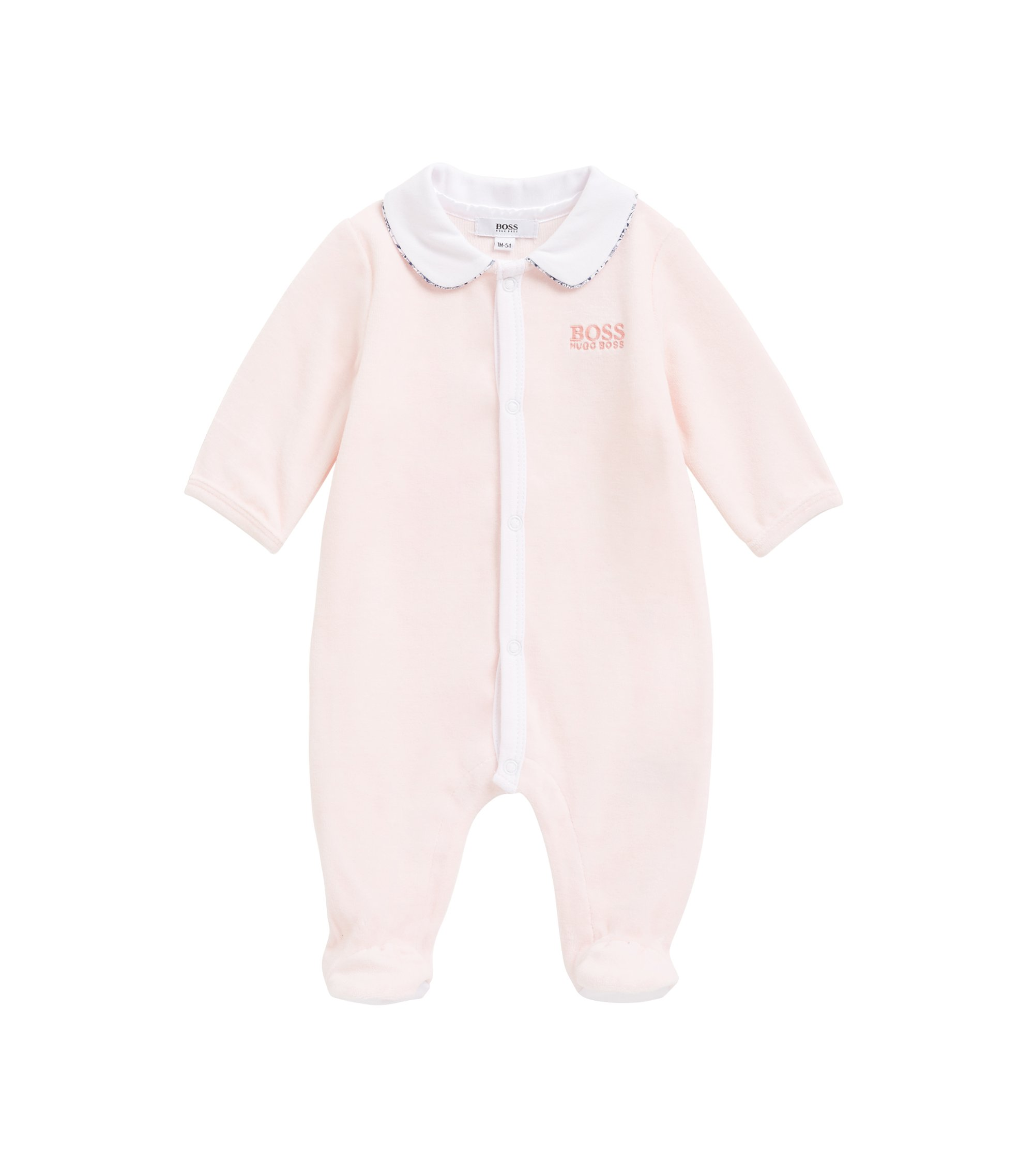 Baby girl sleepsuit in cotton-blend terry velvet, light pink