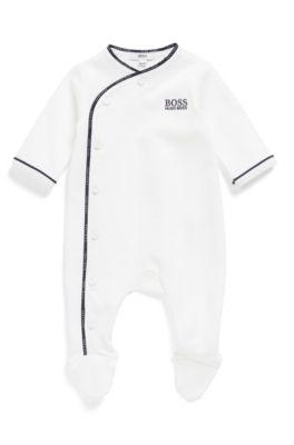 Baby-Schlafanzug aus Baumwolle mit Logo-Flechtband, Weiß