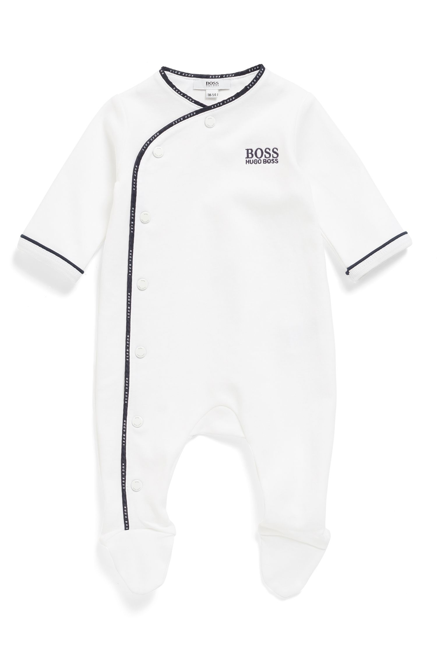Baby sleepsuit in cotton with logo-braid binding, White