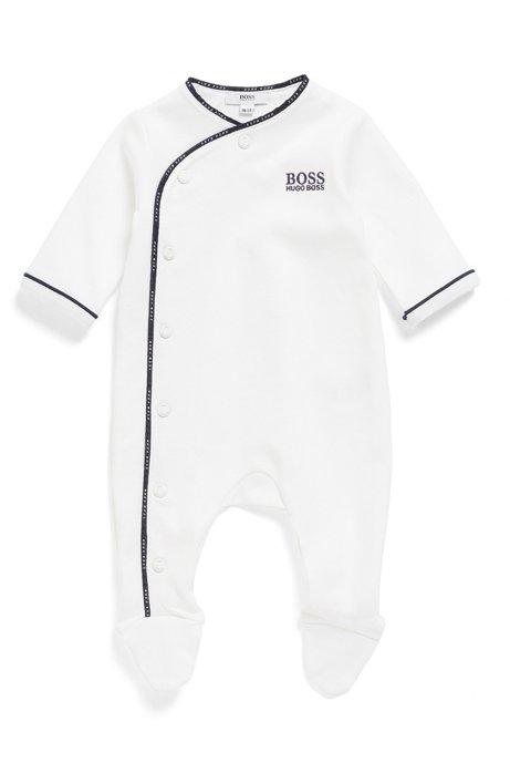 Grenouillère pour bébé en coton, avec logo et rubans tressés, Blanc