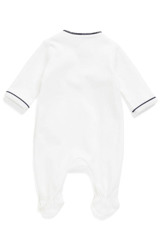 Pagliaccetto da notte da neonato in cotone con fettuccia griffata