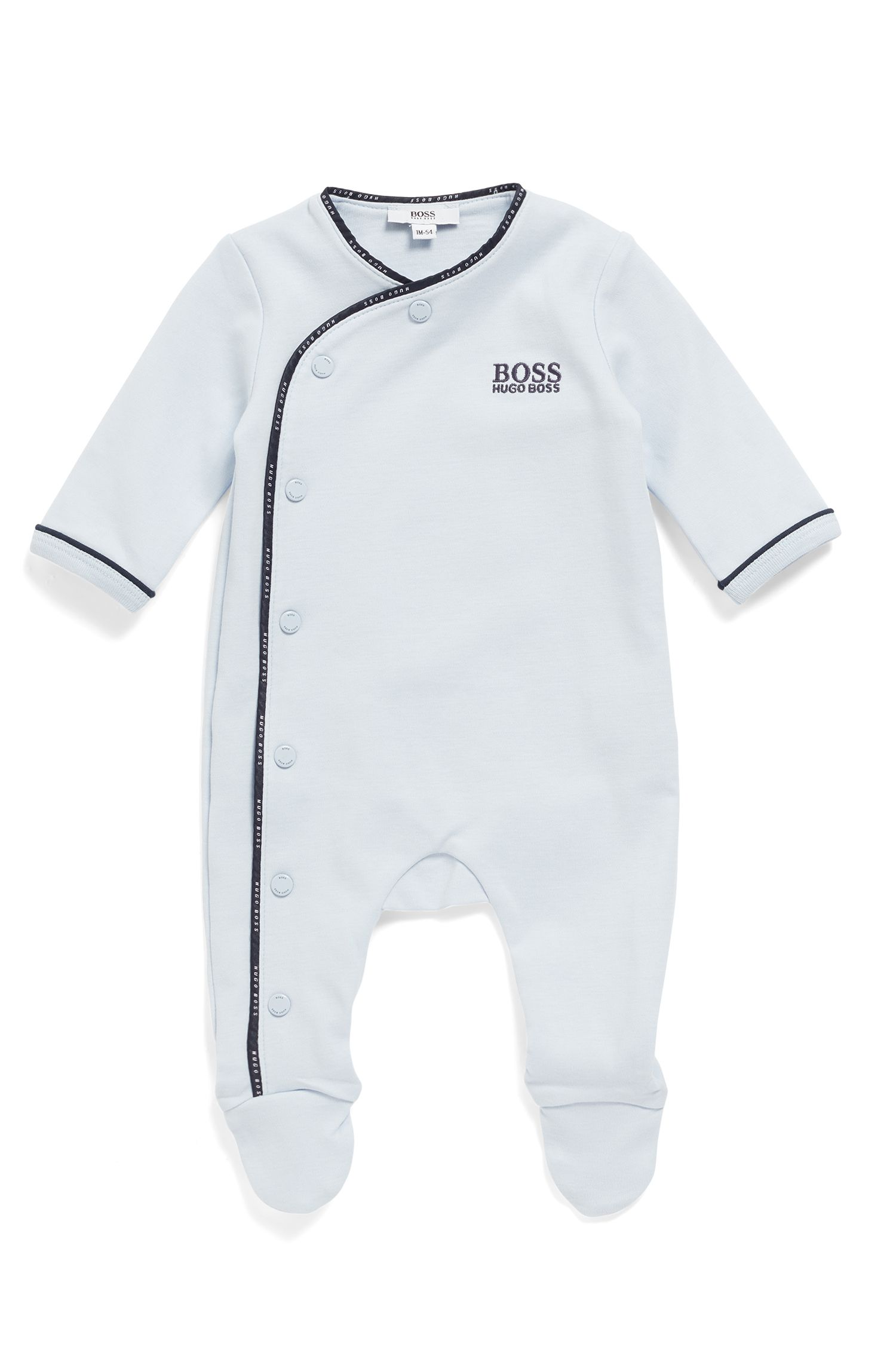 Baby sleepsuit in cotton with logo-braid binding, Light Blue