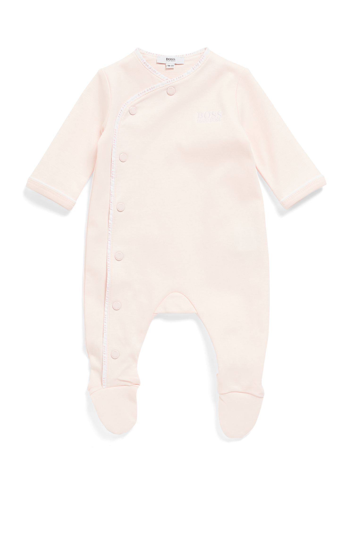 Baby sleepsuit in cotton with logo-braid binding, light pink