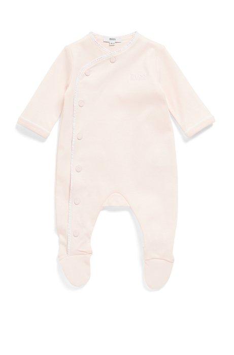 Baby-Schlafanzug aus Baumwolle mit Logo-Flechtband, Hellrosa