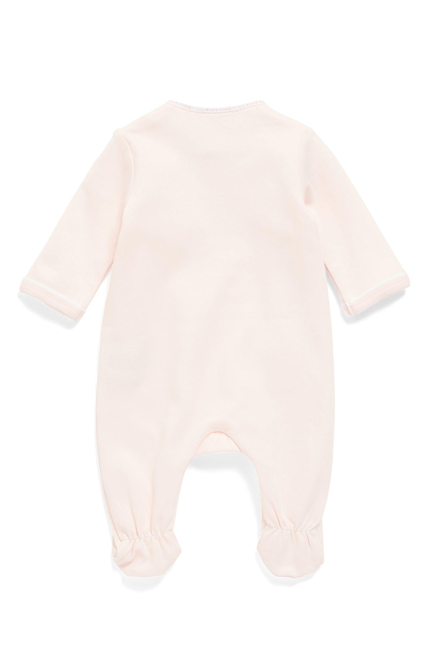 Traje de dormir de algodón para bebé con galones de logos en las costuras, Rosa claro
