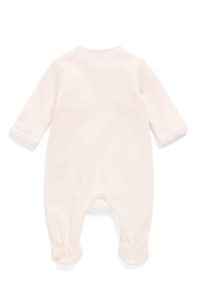 Traje de dormir de algodón para bebé con galones de logos en las costuras