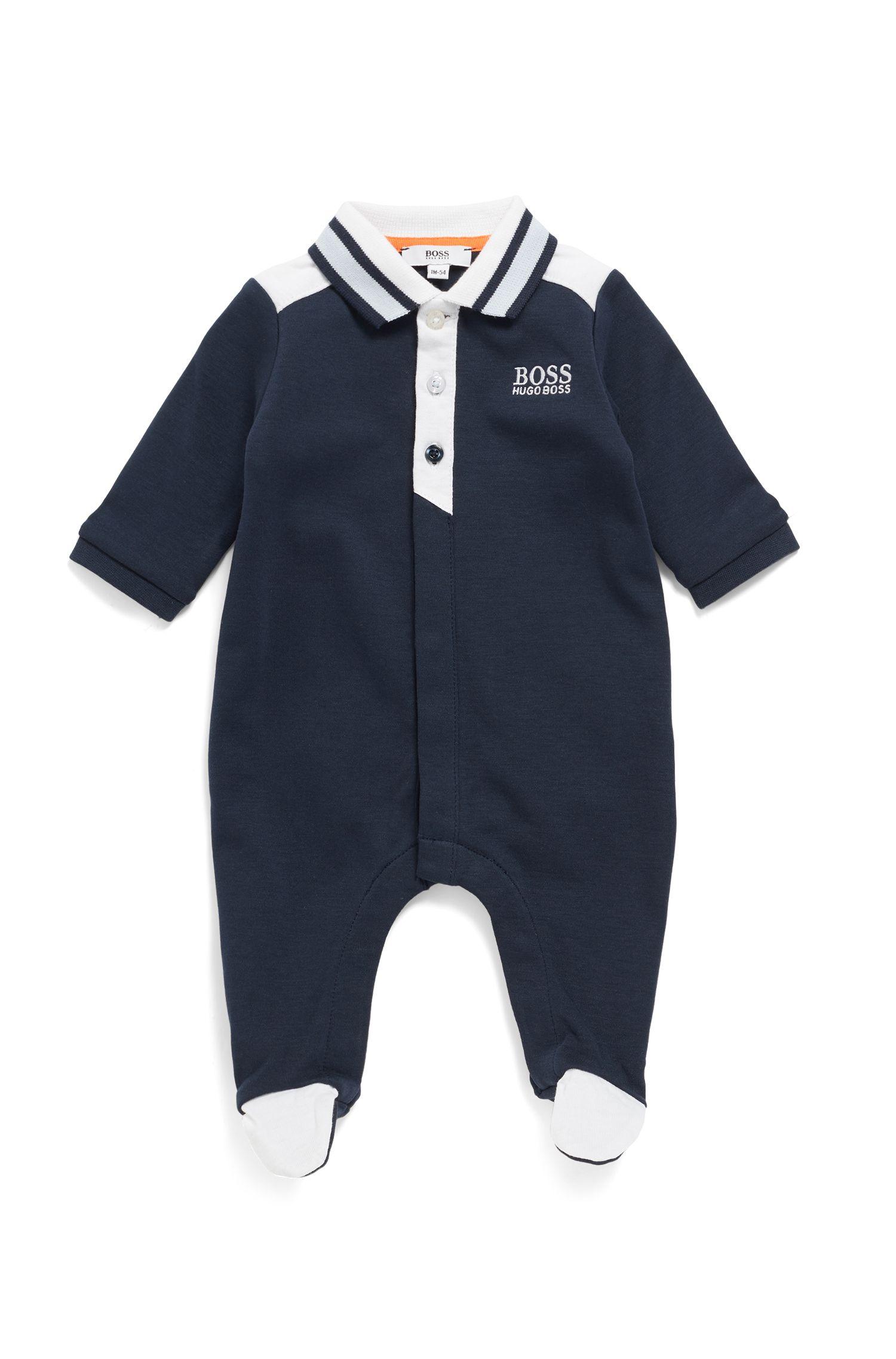 Babykruippakje van interlocked katoen met polokraag, voor jongetjes, Donkerblauw