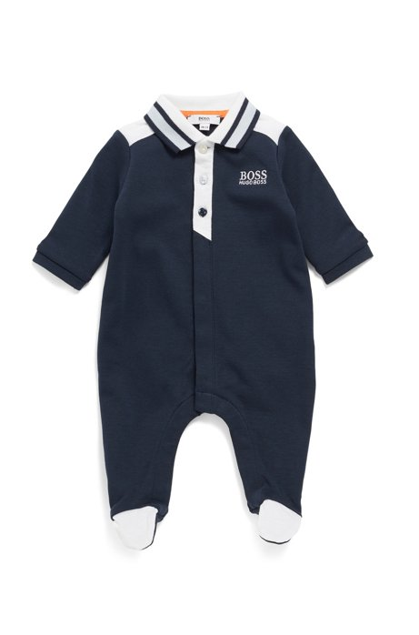 Baby boy bodysuit in interlock cotton with polo collar, Dark Blue