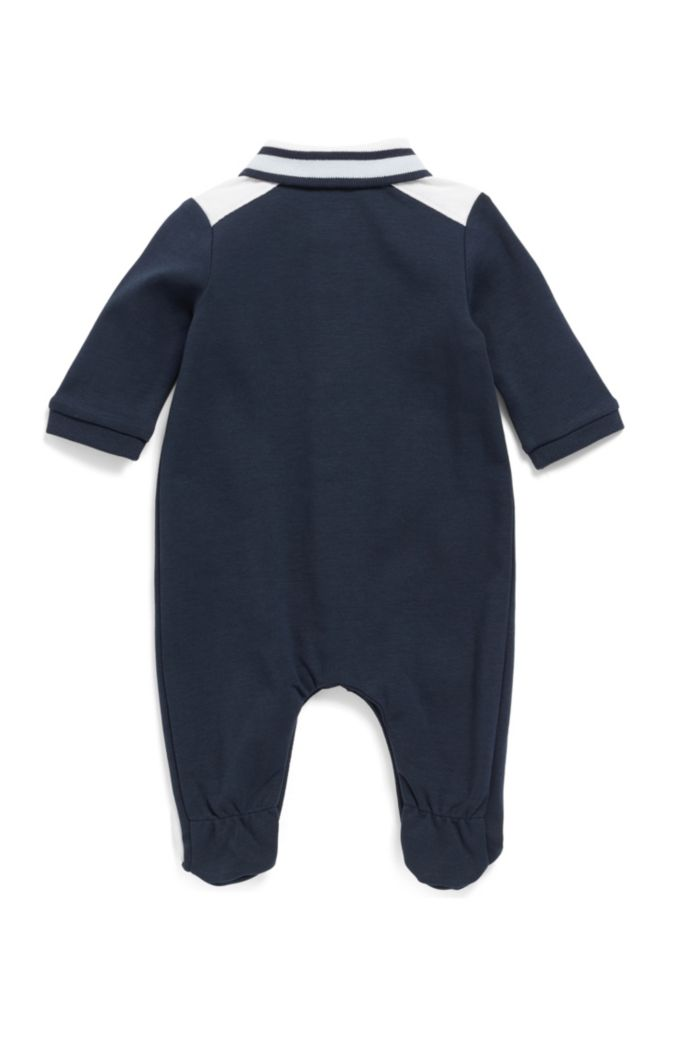 Baby boy bodysuit in interlock cotton with polo collar
