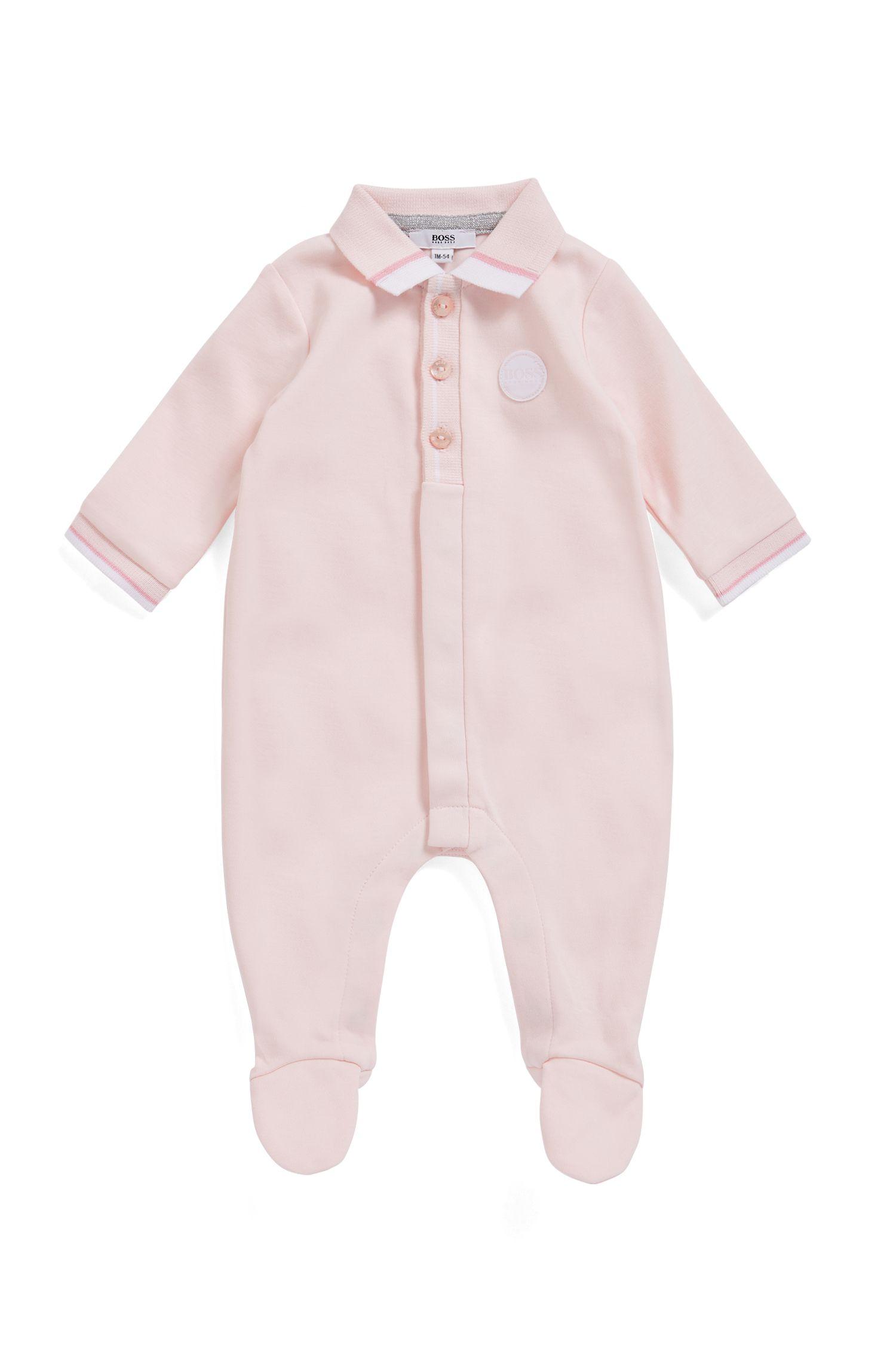 Pijama para bebé niña en algodón interlock con logo tejido, Rosa claro