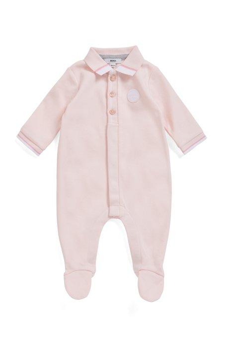Pagliaccetto da neonata in cotone intrecciato con logo intessuto, Rosa chiaro