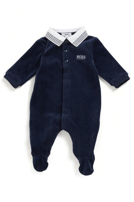 Baby pyjama suit in cotton-blend velvet, Dark Blue