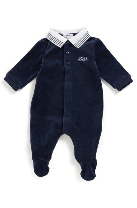 Pyjama pour bébé en velours de coton mélangé, Bleu foncé