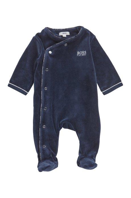 Babypyjamapakje van fluweel van een katoenmix, Donkerblauw