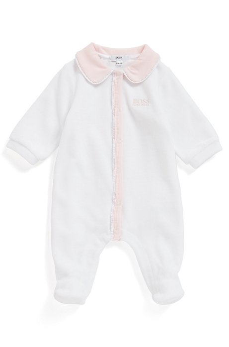 Baby pyjama suit in velvet with logo details, White