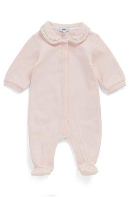 Grenouillère pour bébé en pur coton avec col à logo passepoilé, Rose clair