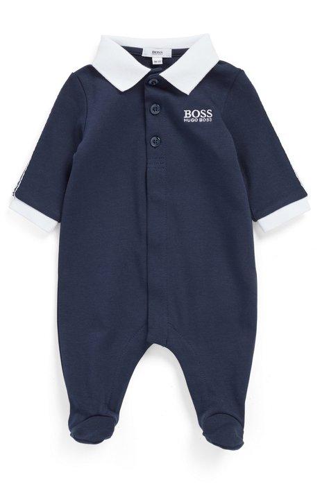 Babypyjama van zuivere katoen met logobies, Donkerblauw