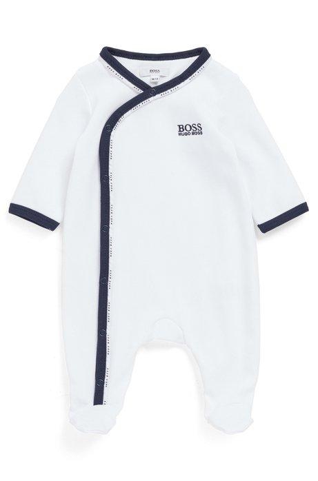 Grenouillère pour bébé en coton avec passepoil logoté, Blanc