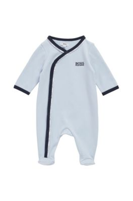 Baby-Schlafanzug aus Baumwolle mit Logo-Paspeln, Hellblau