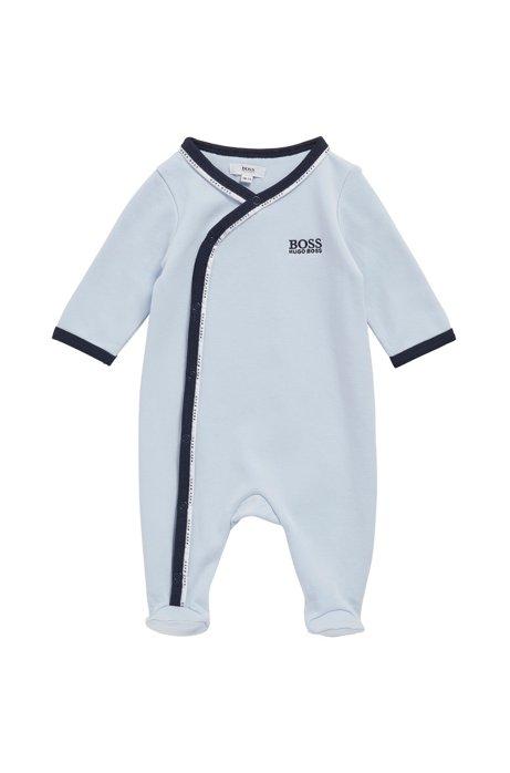 Grenouillère pour bébé en coton avec passepoil logoté, Bleu vif