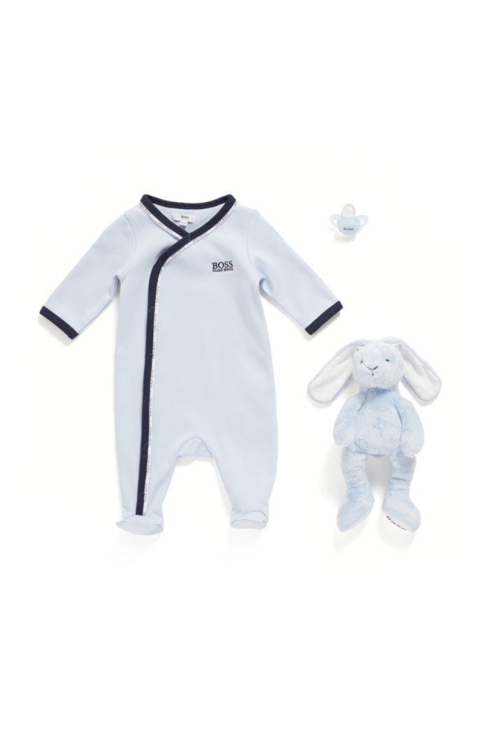 Grenouillère pour bébé en coton avec passepoil logoté