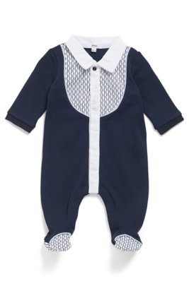 Baby long-sleeved sleepsuit in cotton with logo details, Dark Blue