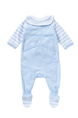 Set consisting of a bodysuit and bib in stretch cotton: 'J98147', Light Blue