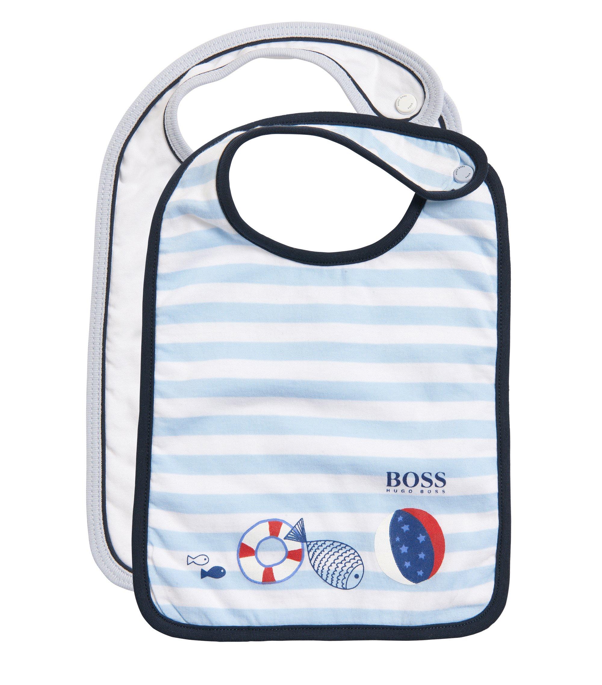 Bavoir pour bébé en lot de2 avec sac de rangement assorti:  «J98150», Blanc