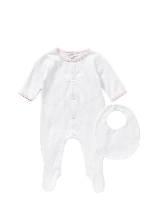 Ensemble pour bébé composé d'une grenouillère et d'un bavoir: «J98153», Blanc