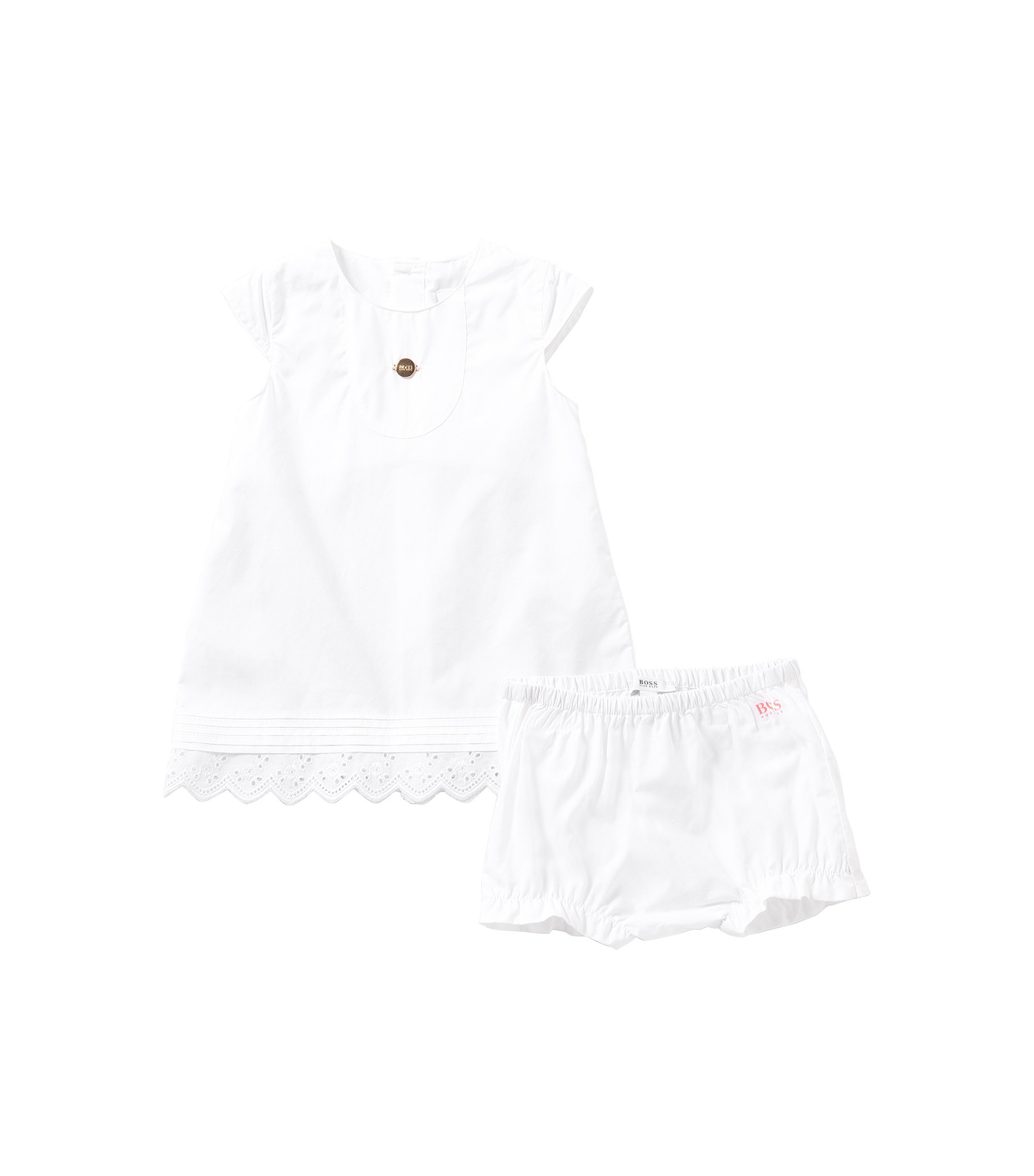 Plain-coloured newborn's dress with knickers in cotton: 'J98154', White