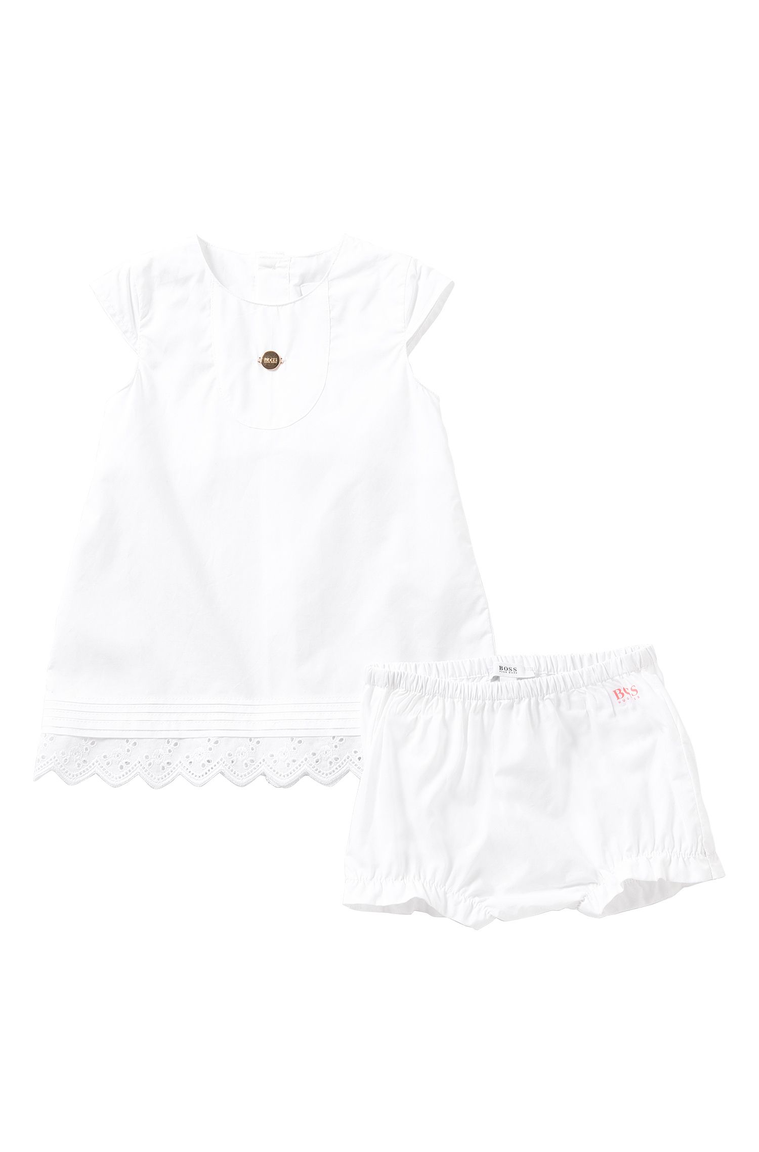 Plain-coloured newborn's dress with knickers in cotton: 'J98154'