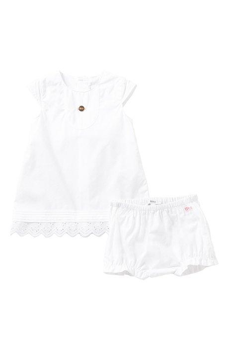 Unifarbenes Baby-Kleid mit Höschen aus Baumwolle: 'J98154', Weiß