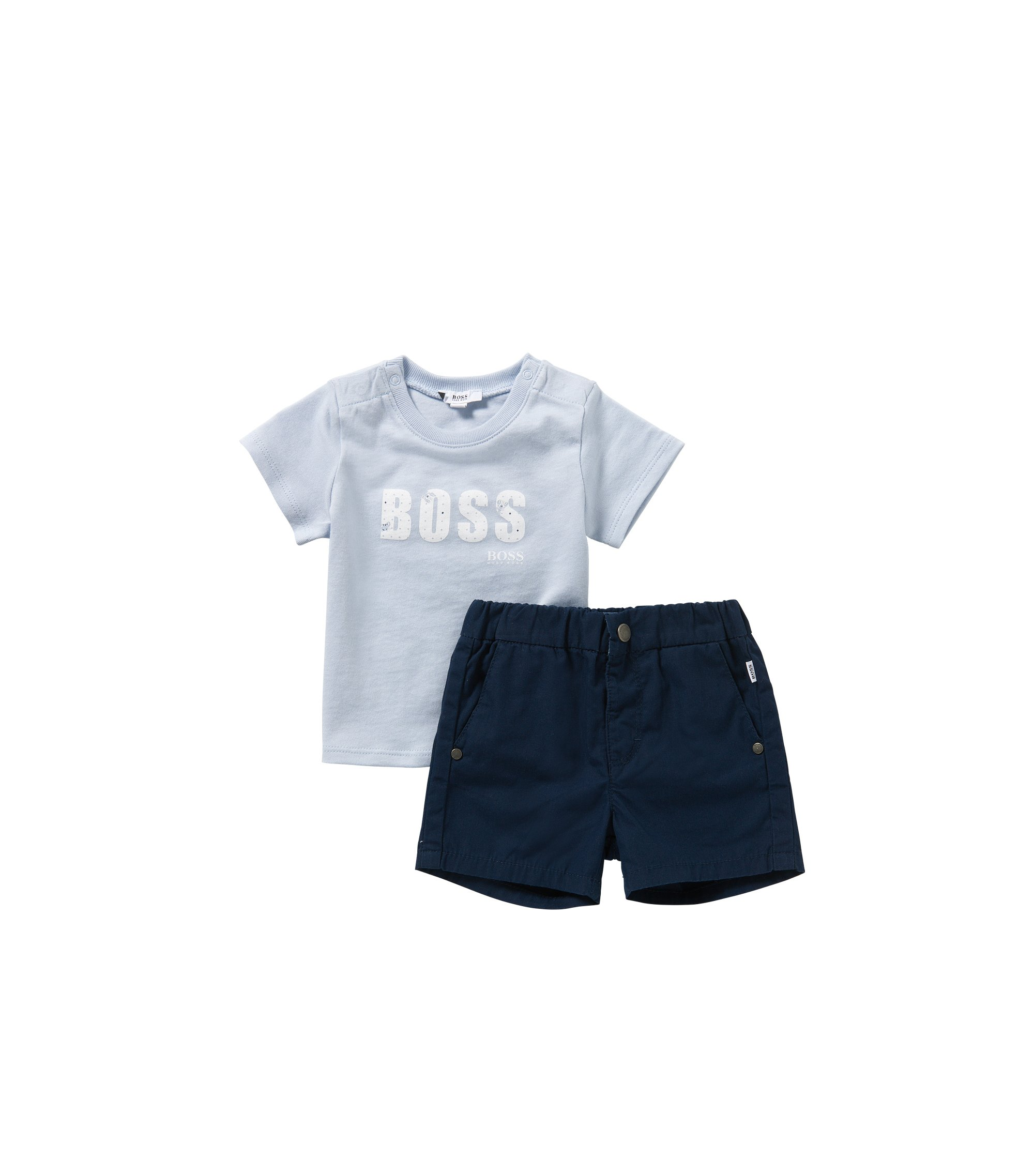 Newborns' set with a t-shirt and shorts in cotton: 'J98155', Patterned